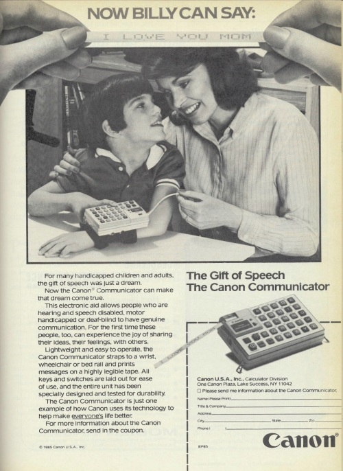 """Now Billy Can Say: I Love You Mom,"" 1985 print advertisement for the Canon Communicator."